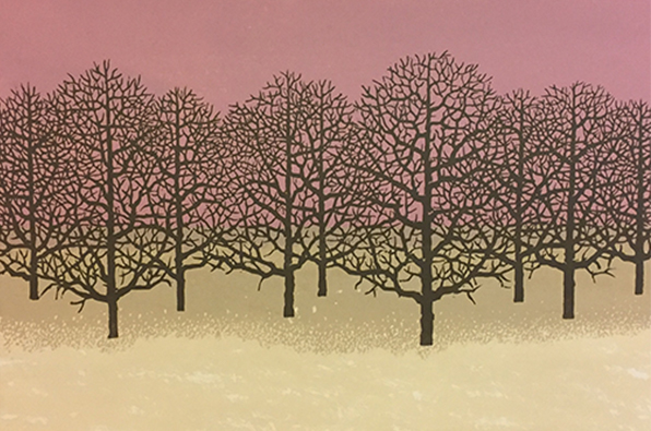 """Evening Oaks"" Charles Beck, woodcut"