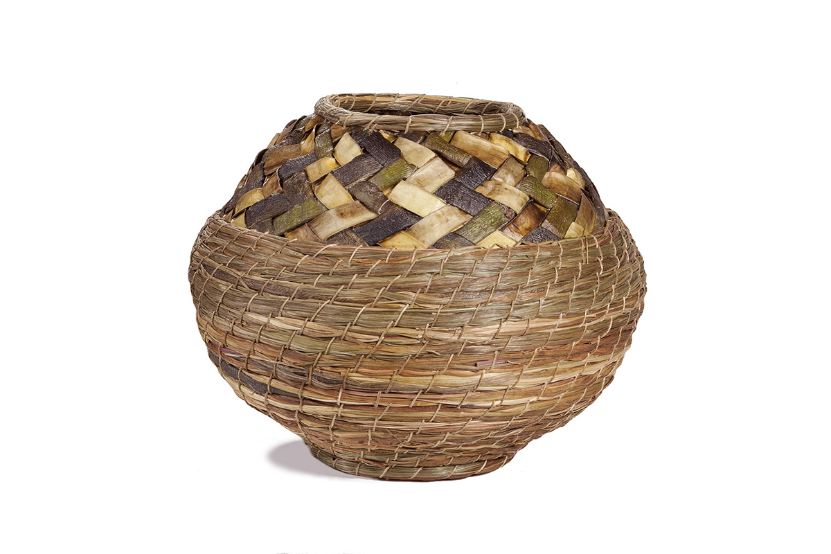 Willow bark and sweetgrass basket